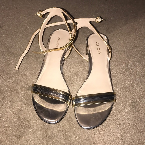 743dafed0d Aldo Shoes | Izzie Gold Silver Strapped Ankle Sandals Sz 6 | Poshmark